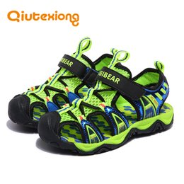 a4677bb7d90a2b Insole Length 13-23 CM 3-12 Years Kids Girls Boys Beach Sandals Children  Cut-Outs Breathable Mesh Leather Summer Shoes