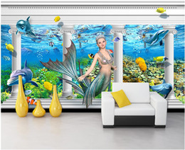 woods country decor Coupons - 3d room wallpaper custom photo mural Mermaid dolphin Roman column TV background wall home decor 3d wall murals wallpaper for walls 3 d