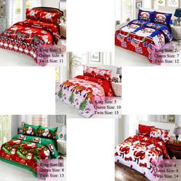 weihnachtsbettwäsche quilts Rabatt Flachbettlaken Spannbetttücher Baumwolle Frohe Weihnachten Weihnachtsmann Bettwäschesatz mit Kissenbezügen Bettbezug Twin Queen King Size