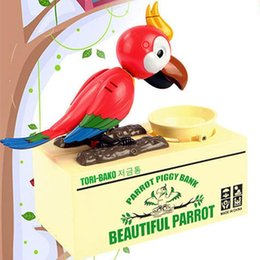 Wholesale Bank Animal - Stealing Parrot Coin Bank Money Saving Box Piggy Bank Funny Cute Hungry Robotic Parrot Eat Coin Piggy Bank Creative Gift For Kids