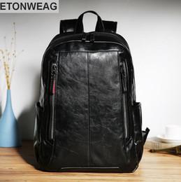 b91a49e764 korean leather backpack brands 2019 - Factory wholesale brand male bag  fashion leather double shoulder knapsack