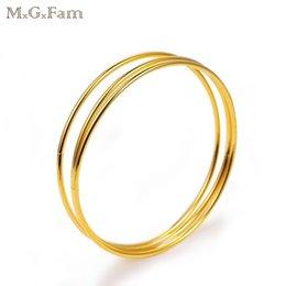 Bracelets plaqués or 24 carats en Ligne-MGFam (84BA) (3pcs / set) Minuscule Lisse Bracelets Bracelets pour Bijoux De Mode Femmes 24k Or Plaqué Style Traditionnel