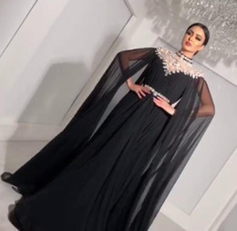 Wholesale cape dresses - 2018 Bling A-Line Evening Dresses with Long Cape High Neck Rhinestone Floor Length Plus Size Custom Made Sash Chiffon Prom Gowns