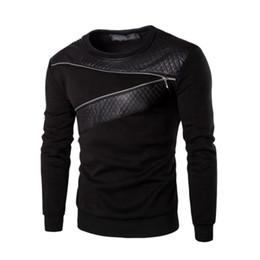 Wholesale long sleeve leather shirt mens - Fashion New Zipper Style T Shirt Men Leather Patchwork Men 'S T -Shirt Plus Size M -5xl Top Tees Mens Hip Hop Clothing