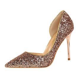 Canada Femmes paillettes chaussures de mariage en argent ouvert Bling chaussures à bout pointu demoiselle d'honneur talon haut plate-forme chaussures de fête dames pompes cheap bridesmaid shoes silver pumps Offre