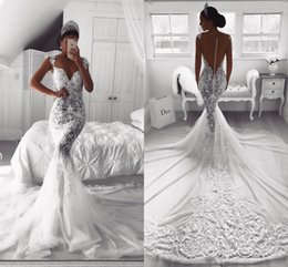 Wholesale vintage tulle dresses - Vintage Sexy Full Lace 2018 Mermaid Wedding Dresses Sheer V Neck Illusion Button Back Court Train Tulle Wedding Dress Bridal Gowns Custom