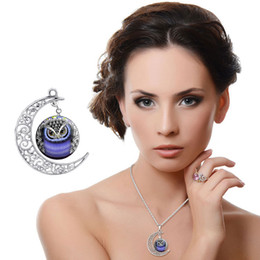 Wholesale Necklace Half Moon - Fashion hot owl glass cabochon pendant silver half moon chain necklace fine jewelry Wholesale Free Shipping