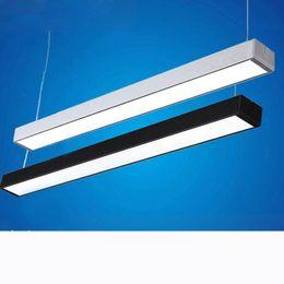 2019 офис светильников Офисные светильники висит линия свет может быть сшиты офисная линия лампы современные простые люстры бар светильник светодиодные лампы скидка офис светильников