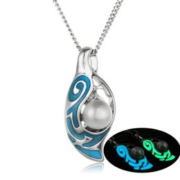 Wholesale Silver Articles Wholesale - 2017 Luxury Hollow Out Luminous Night Locket Statement Necklace Jewelry Fresh Pearl Oysters Lover Pendant Necklaces For Girls Adorn Article