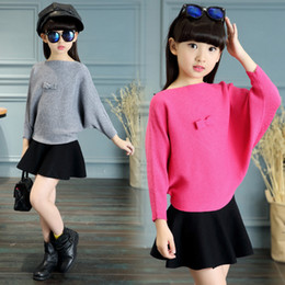 Wholesale Boys Knitwear Clothing - Kids Teens Bow Sweaters For 2018 Girls Clothing Children Knitted Batwing Sleeve Sweaters Autumn Knitwear 2 4 8 10 12 14 Years