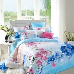 Wholesale Hotel Duvet Covers - BEYOND CLOUD 100% Cotton Tribute Silk Home Hotel Bedding Sets King Queen Size High Quality Bed Linens Duvet Cover Pillowcase 077