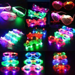 Wholesale glass blinds - Multi Style Blinking Light Up Blind Eye Glasses LED Flashing Glasses Party Supply Flash Toy Festive Supplies