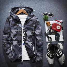 Wholesale Military Hooded Parka - 2018 New Camouflage Jacket Men Plus Size Camo Hooded Windbreaker Jackets Military Canvas Jacket Parka Fashion Streetwear