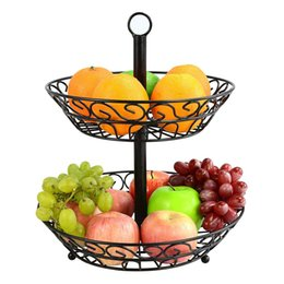 Frigorifero da cucina online-Frutti di stile europeo Snack Storage Basket Household Rack a due piani Fruit Stand Kitchen Organizer per lo stoccaggio