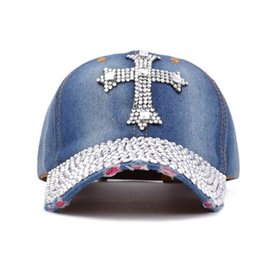 Wholesale Rhinestone Cowboy - Summer New Fashion Designer Cross Rhinestone Hats Women Denim Sun Hats Super Quality Outdoor Sport Hat Baseball Hats Caps for Lady