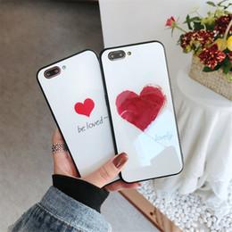 Cubierta de la caja para blu online-Moda Nueva Funda de Vidrio Templado para iPhone Xs Max XR X 7 8 Plus Blu-ray Love Heart cubierta del teléfono para iphone 6 6 s PLUS Funda Capinhas Fundas
