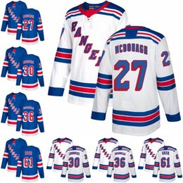 Wholesale green ranger spandex - 2018 New Brand 36 Mats Zuccarello Jersey New York Rangers Jerseys 61 Rick Nash 30 Henrik Lundqvist 27 Ryan McDonagh Blue White Stitched Qual