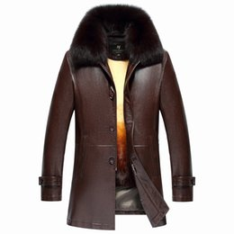 Wholesale Fox Fur Strips - 2017 Free shipping Hot Sale Fashion Winter Men's Coats Imitation Leather Jacket fox fur jacket Leather Jackets Men High Quality