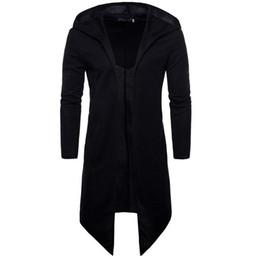 Черные пальто онлайн-Мужчины Тренч Пальто Весна Осень Новая Мода Длинные Fit Черное Пальто Для Мужчин Пальто