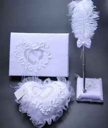 Wholesale Applique Suppliers - New Cheap 3 Pieces Heart Shape Bearer Ring Pillow Appliques Crystals White Bow Book Feather Pen Set Wedding Suppliers Favor Full Set