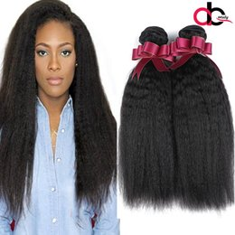 Wholesale coarse yaki hair - peruvian Virgin Hair Kinky Straight 3 Bundles 100% Human Hair Extension peruvian Yaki Straight peruvian Virgin Hair Coarse Yaki