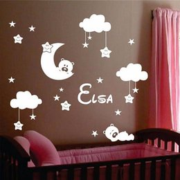 Wholesale Moon Room Wall Light - Personalized Name Baby Nursery Room Moon and Star Vinyl Wall Stickers, Cute Smiling Stars with White Clouds Kids Room Decor Art
