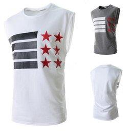 Wholesale Mens Flag T Shirt - American Flag Printing Mens Tank Tops Sleeveless T-shirt Men Crew Neck Tops Tee