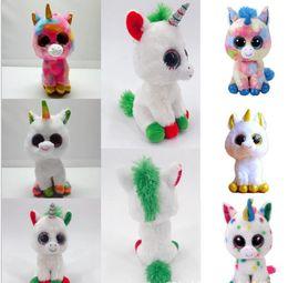 2019 unicorns olhos grandes 17 cm Ty Beanie Boos Brinquedo De Pelúcia Unicórnio De Pelúcia Bicho de pelúcia Brinquedos de Presente de Natal Collectible Macio Big Eyes Boneca Brinquedos Para Crianças KKA5806 unicorns olhos grandes barato