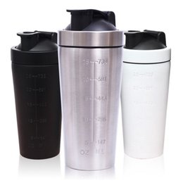 Wholesale Stainless Steel Protein Shakers - 739ml 304 Stainless Steel Protein Powder Shaker Blender Water Bottle Fitness Home Office Whey Camping Sport Drinking Water