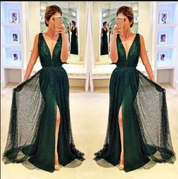 Élégantes robes de soirée sans manches vert foncé Sexy Deep V Neck paillettes avant Split robes de bal Robes de tapis rouge ? partir de fabricateur