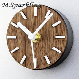 2019 relógios magnéticos Europeu pastoral madeira maciça imã de geladeira relógio pendurado mesa criativa geladeira sino pasta de sucção magnética o relógio relógios magnéticos barato