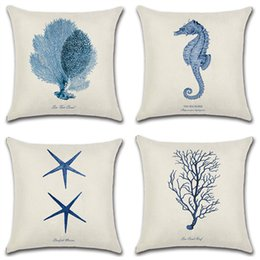 2019 getti di cavalli Sea Horse Whale Starfish Stampato in cotone Lino Federa decorativa Ufficio Home Throw Pillow Cover Cojines Almofada getti di cavalli economici