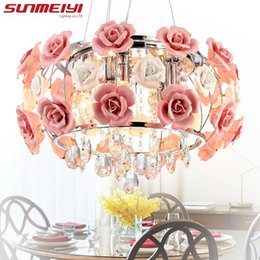 Wholesale free style meter - 2017 New Arrival LED Crystal Ceiling Lights lustres de sala Beautiful Rose Style For Bedroom Dining Room Free shipping