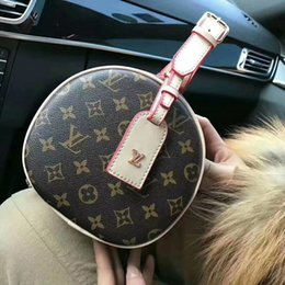 Wholesale round bow - new brand Old flower small round package high quality Real Leather shoulder bag women messenger package clutch handbag luxury evening bags