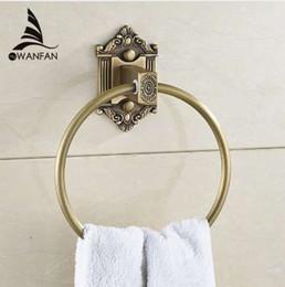 anéis de latão sólidos Desconto Anéis de toalha de Parede de Bronze Antigo Latão Montado Toalha Titular Home Decor Esculpida Cabide Acessórios Do Banheiro Toalha De Banho Anel WF-71205