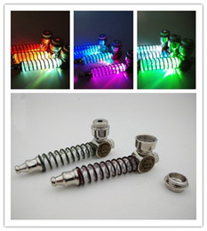 Wholesale Glass Light Tube - Skull Colorful LED Spring Tube Smoking Pipes Portable Flashing Light mini Glass Tobacco Pipe random color