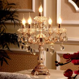 Wholesale transparent candle holders - 5 lights gold candle holders table lamp large Wedding candelabra Restaurant Transparent crystal candlestick big led work light