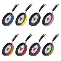desserts roses Promotion Horloge murale Pendule Horloge Fry Pan horloges murales Cuisine Fried Egg Design Horloge Murale Décor À La Maison