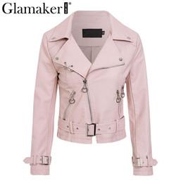 fbde5596e4f MissyChilli Otoño moda mujer chaqueta de cuero sintético Rosa casual  chaqueta motera de invierno Femaler chaqueta de cuero verde de manga larga
