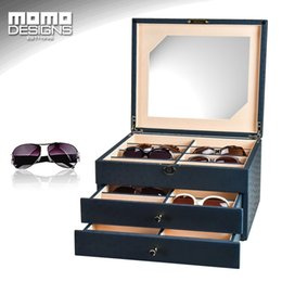 Wholesale Glass Jewelry Showcase - 24 Sunglasses storage box Leather packaging for glasses organizer display Jewelry showcase High end Carbon PU wrapped
