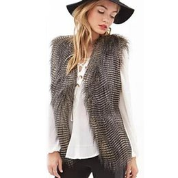 Wholesale Thin Fur Vest - Fur Jacket Waistcoat Slim Women Vest Sleeveless Faux Fur Coat feminina Outerwear Long Hair Jacket outwear Plus Size M-3XL
