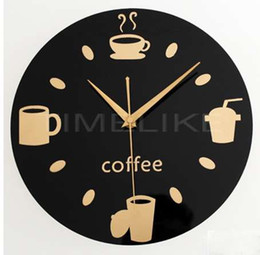 Wholesale coffee wall clock - Hot Selling Wall Clocks Modern Coffee Cups Wall Watch Design Relogio De Parede Wall Watches Home Decoration Orologio Parete