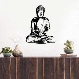 Autocollant inde en Ligne-Livraison gratuite vinyle sticker mural Bouddha, Sticker Bouddha Silhouette Inde Asiatique Spirituel Réveillé Un décor à la maison