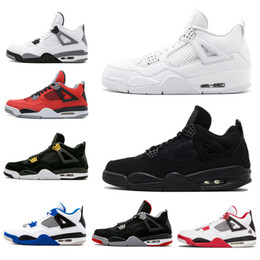 save off 07544 4cfe1 air Jordan retro 4 Neue Ankunft 4 4s Bred Fire Red Männer Basketball Schuhe  Pure Money White Cement Schwarze Katze Toro Bravo Sport Turnschuhe uns 8-11  ...