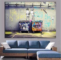 Peintures banky en Ligne-One Piece Énorme Banksy Art Life Est Court Chill Le Canard Out Mdern Toile Peintures À L'huile Mur Photo pour Salon Décor À La Maison
