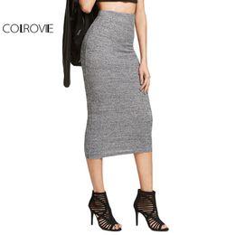 c30225a7be3 COLROVIE Brief Knit Pencil Skirt Women Heather Grey Elegant Slim Ribbed Midi  Skirts 2017 Spring Fashion High Waist Office Skirt