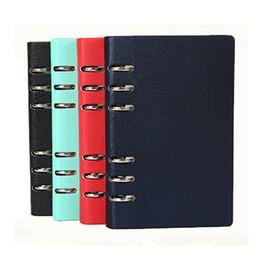 diario de cuero a5 cubre Rebajas A5 A6 A6 Leather Cover Spiral Notebook Ring Binder Index Dividers Card Filler Dot Diary Agenda Planner Accesorios Diario