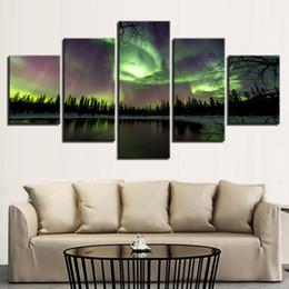 Pitture paesaggistiche online-Canvas HD Prints Dipinti Home Decor Quadri modulari Quadro 5 pezzi Green Forest Lake Trees Scenery Poster Wall Art
