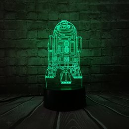 Decoração do robô on-line-3D USB 7 Cores Table Lamp LED Navio de guerra R2D2 robô Stormtrooper modelo de foguete Toque Night Light no quarto Decor