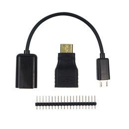 Wholesale Usb Header Cable - 3 in 1 Raspberry Pi Zero Adapter Kit Mini HDMI to HDMI Adapter + Micro USB to USB Cable+ GPIO Header for Raspberry Pi Zero W 1.3